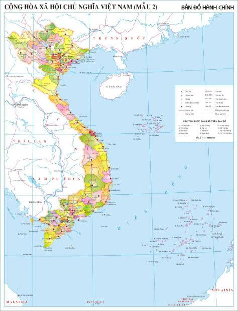 Bản đồ Việt Nam khổ lớn cung cấp những nội dung gì?