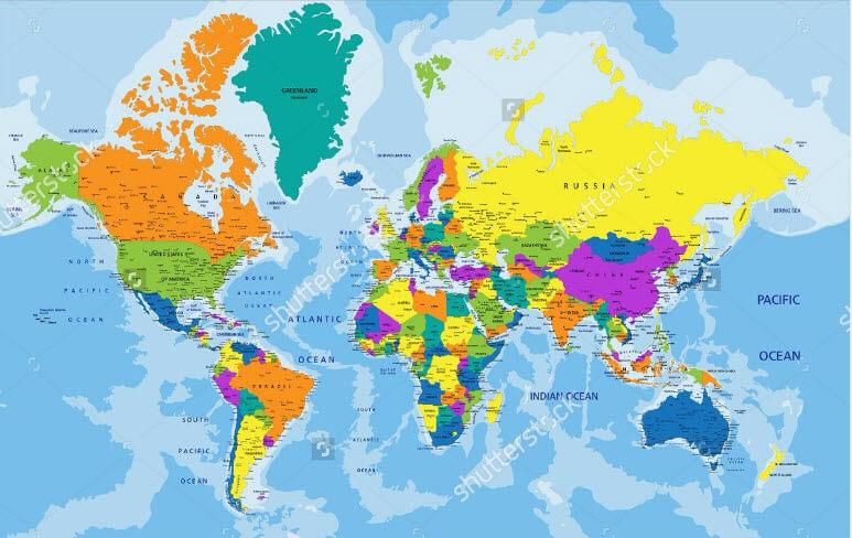 Câu trả lời cho nơi in bản đồ thế giới lớn đảm bảo nhất