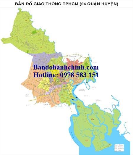 Bản đồ giao thông TpHCm 24 quận huyện