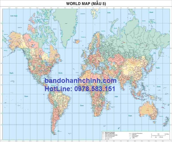 Bản đồ thế giới khổ lớn mẫu 5