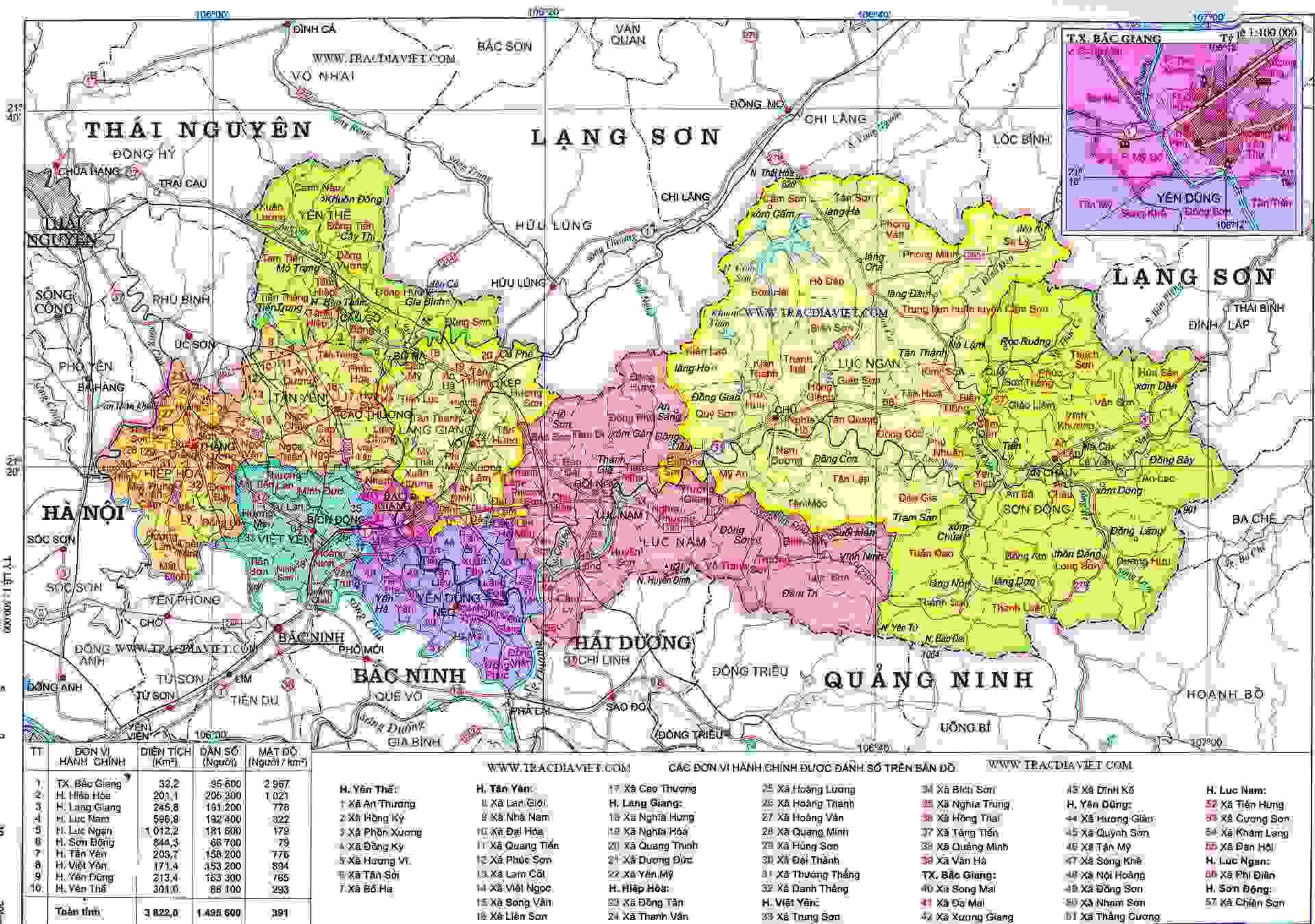 Bản đồ hành chính Bắc Giang khổ lớn