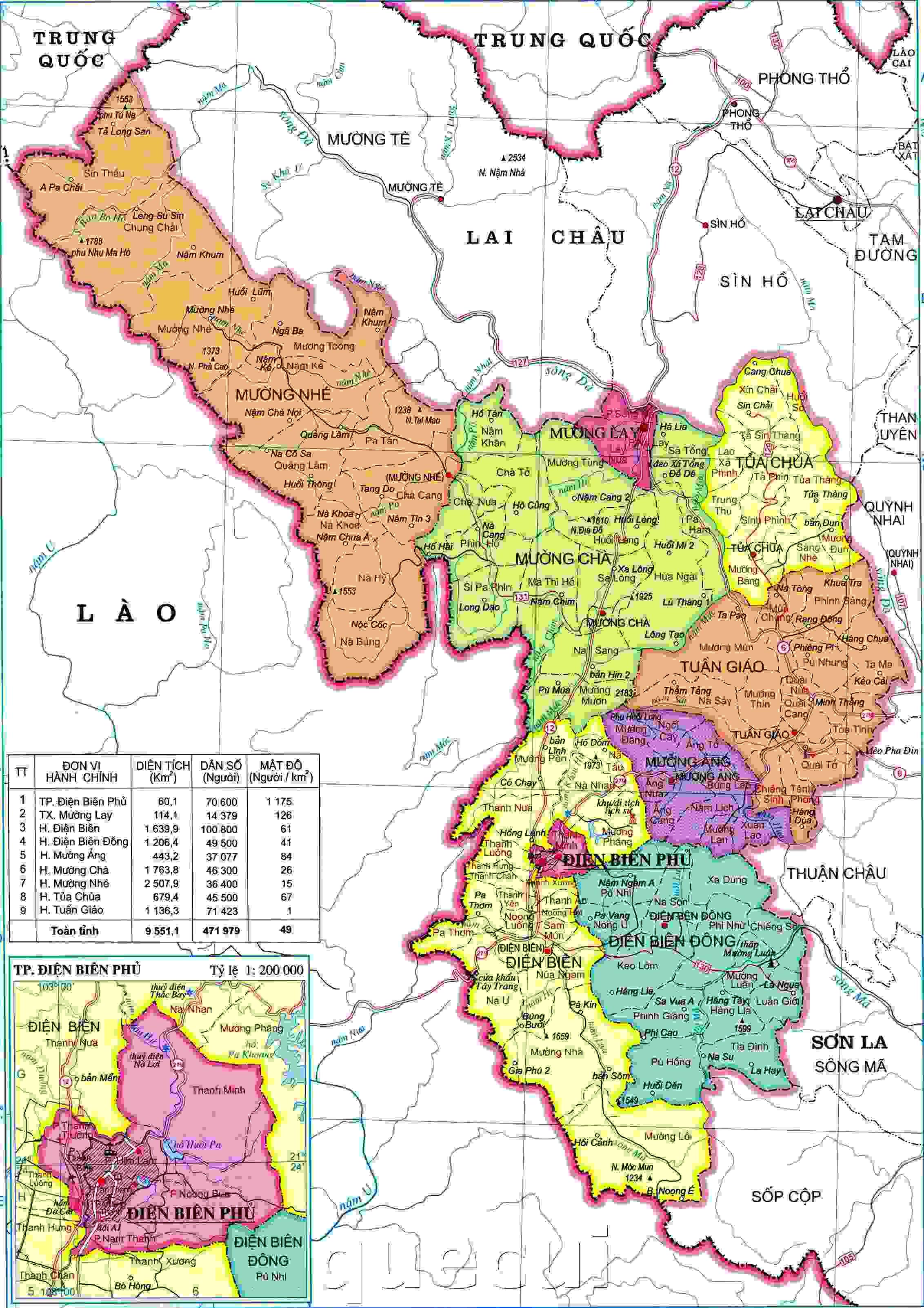 Bản đồ hành chính Điện Biên khổ lớn