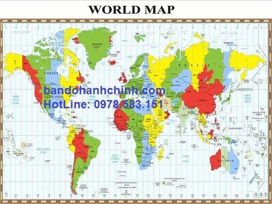 Bản đồ thế giới khổ lớn mẫu 27
