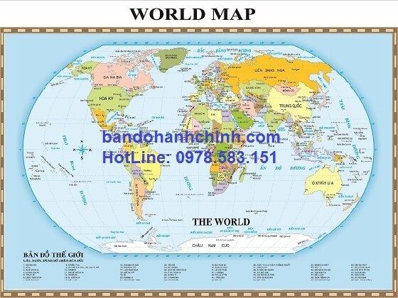 Bản đồ thế giới khổ lớn mẫu 1