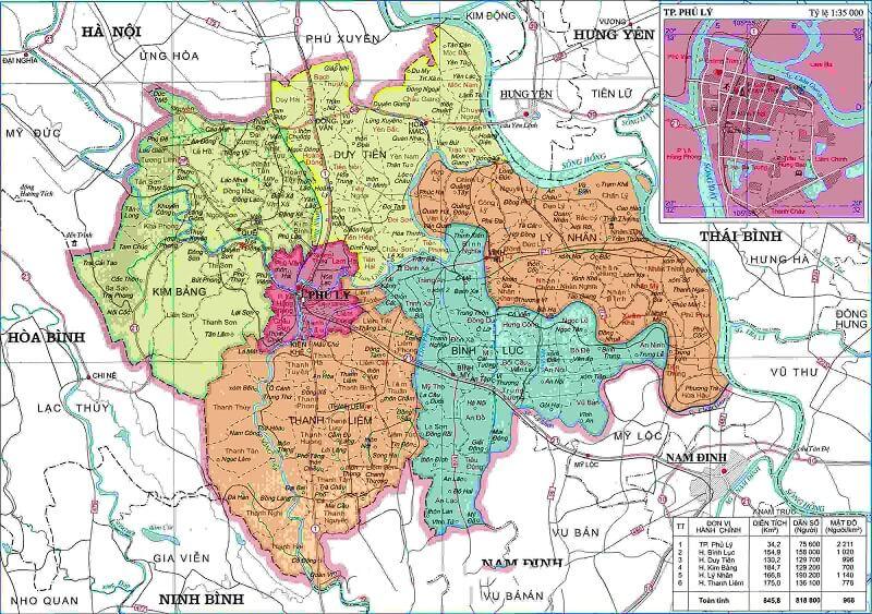 bản đồ hành chính Hà Nam khổ lớn