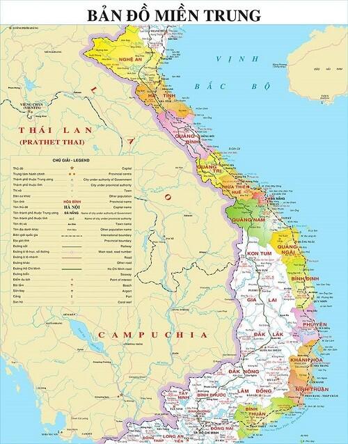Bản đồ miền Trung khổ lớn