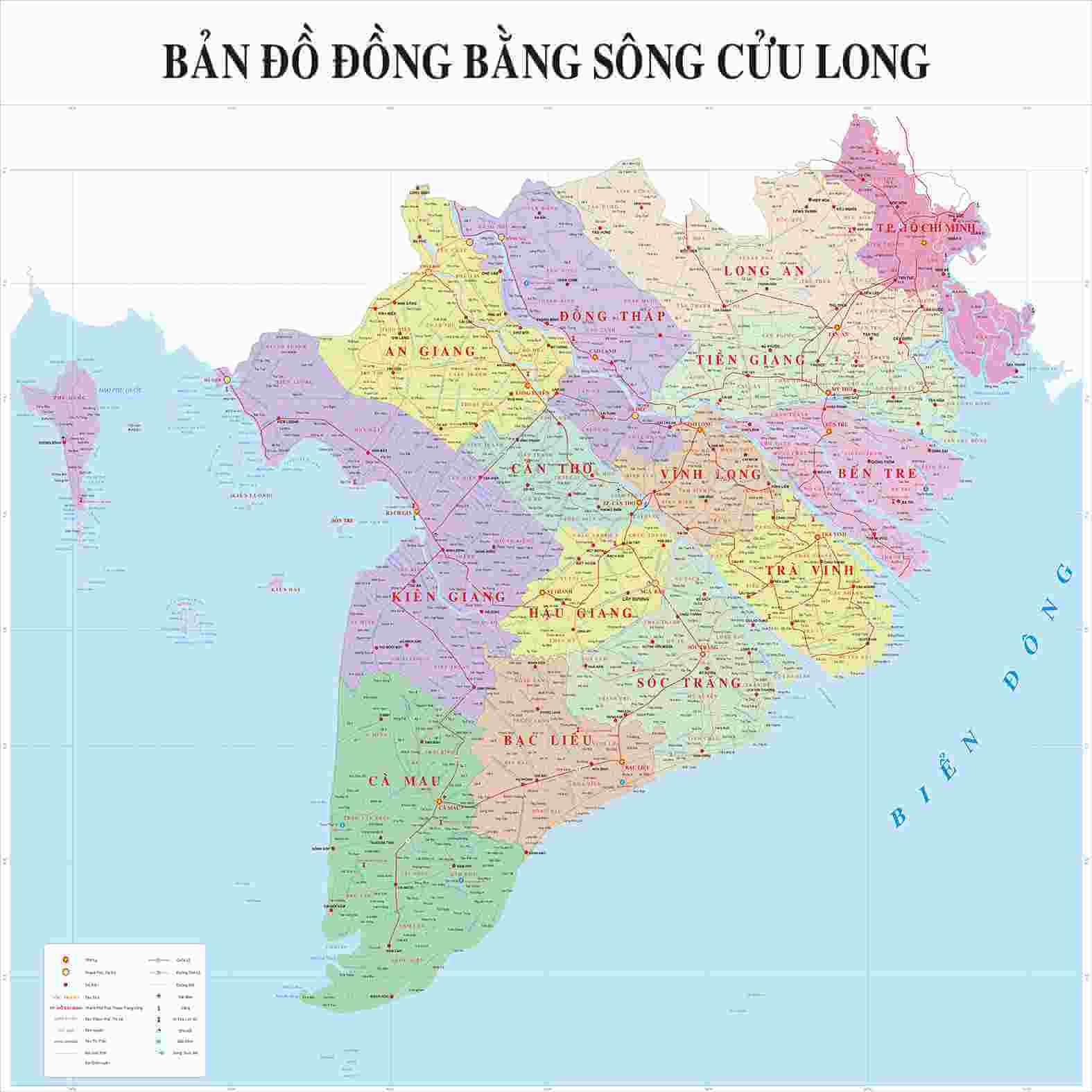 Bản đồ đồng bằng Sông Cửu Long khổ lớn