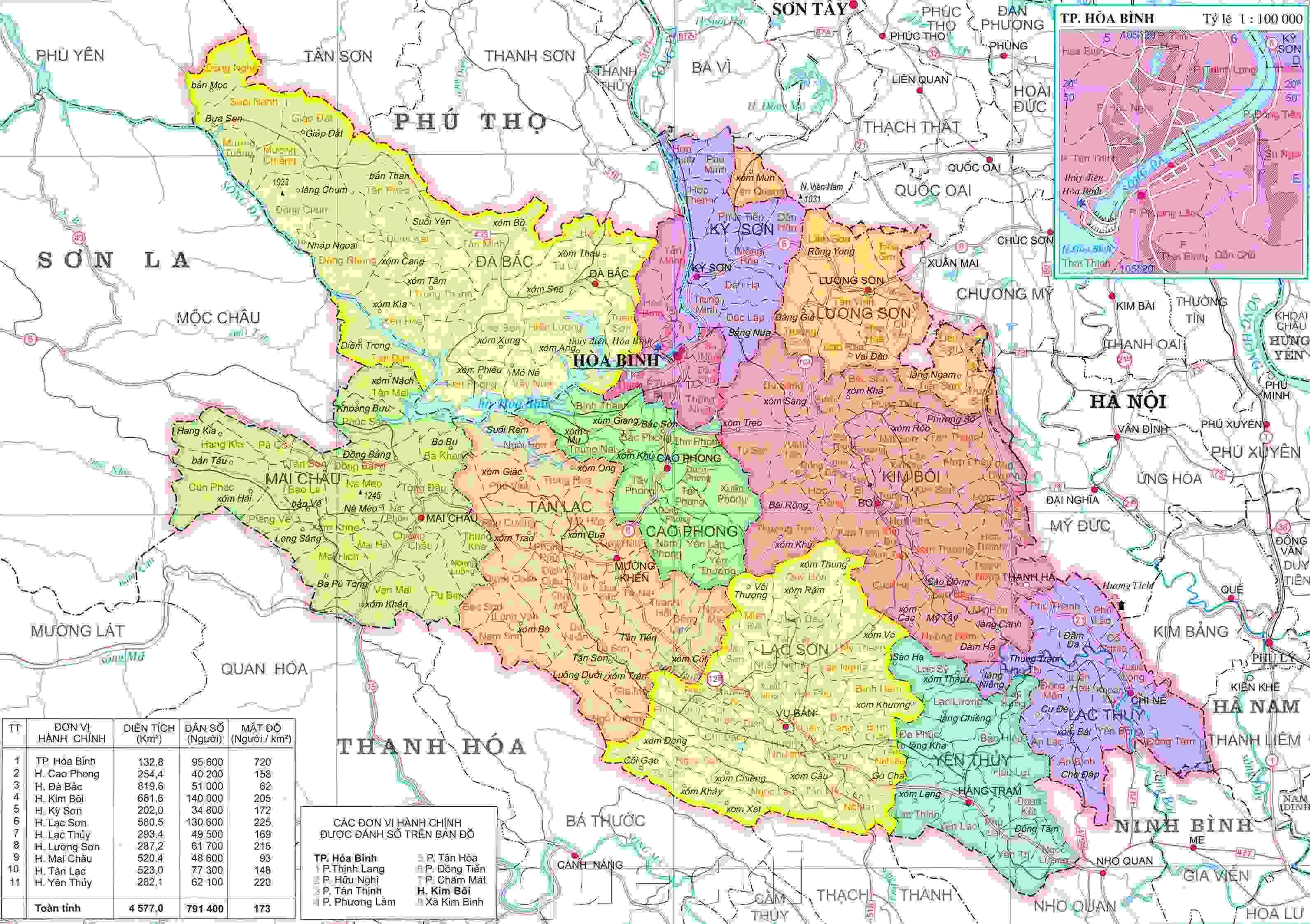 Bản đồ hành chính Hòa Bình khổ lớn