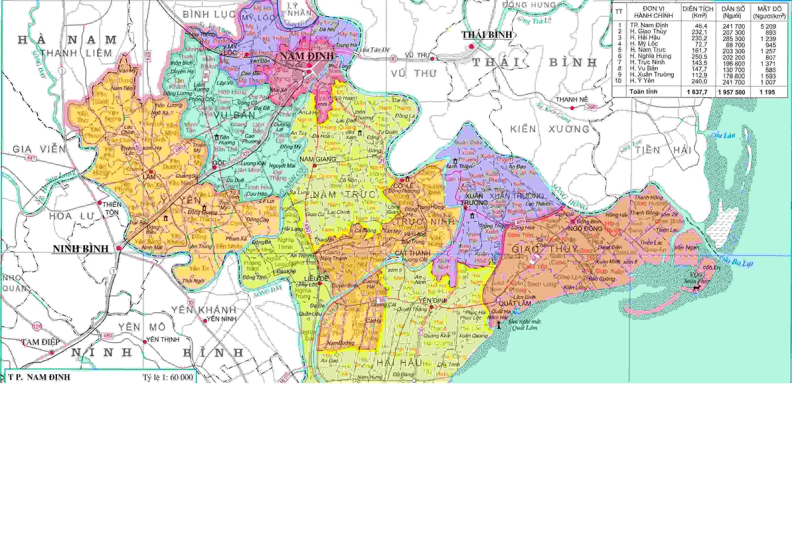 Bản đồ hành chính Nam Định khổ lớn