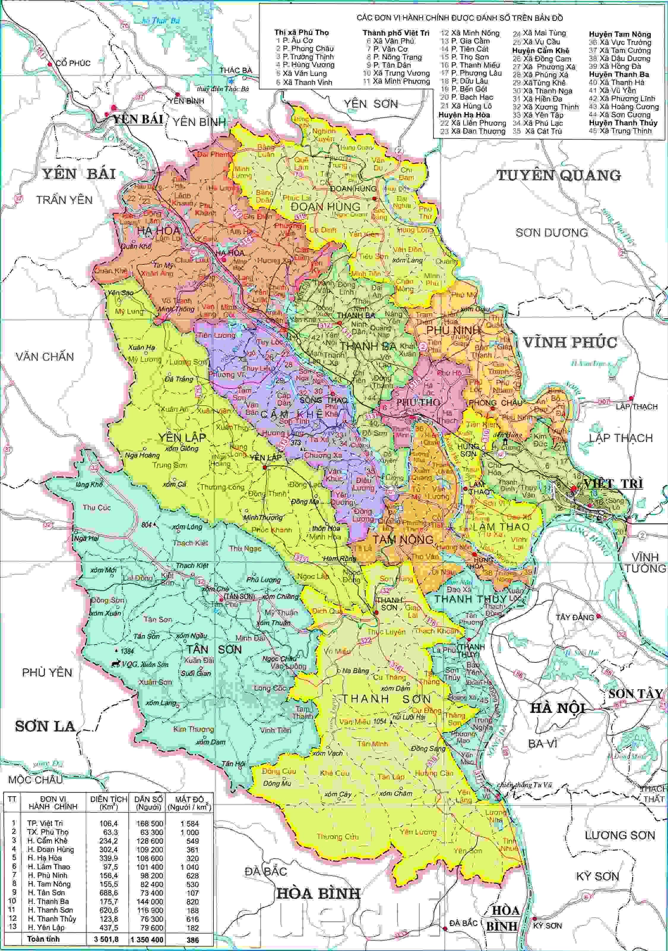 Bản đồ hành chính Phú Thọ khổ lớn