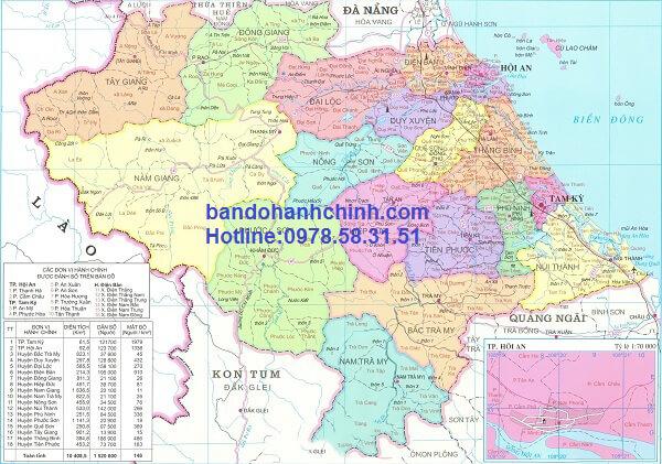 Bản đồ hành chính Quảng Nam khổ lớn