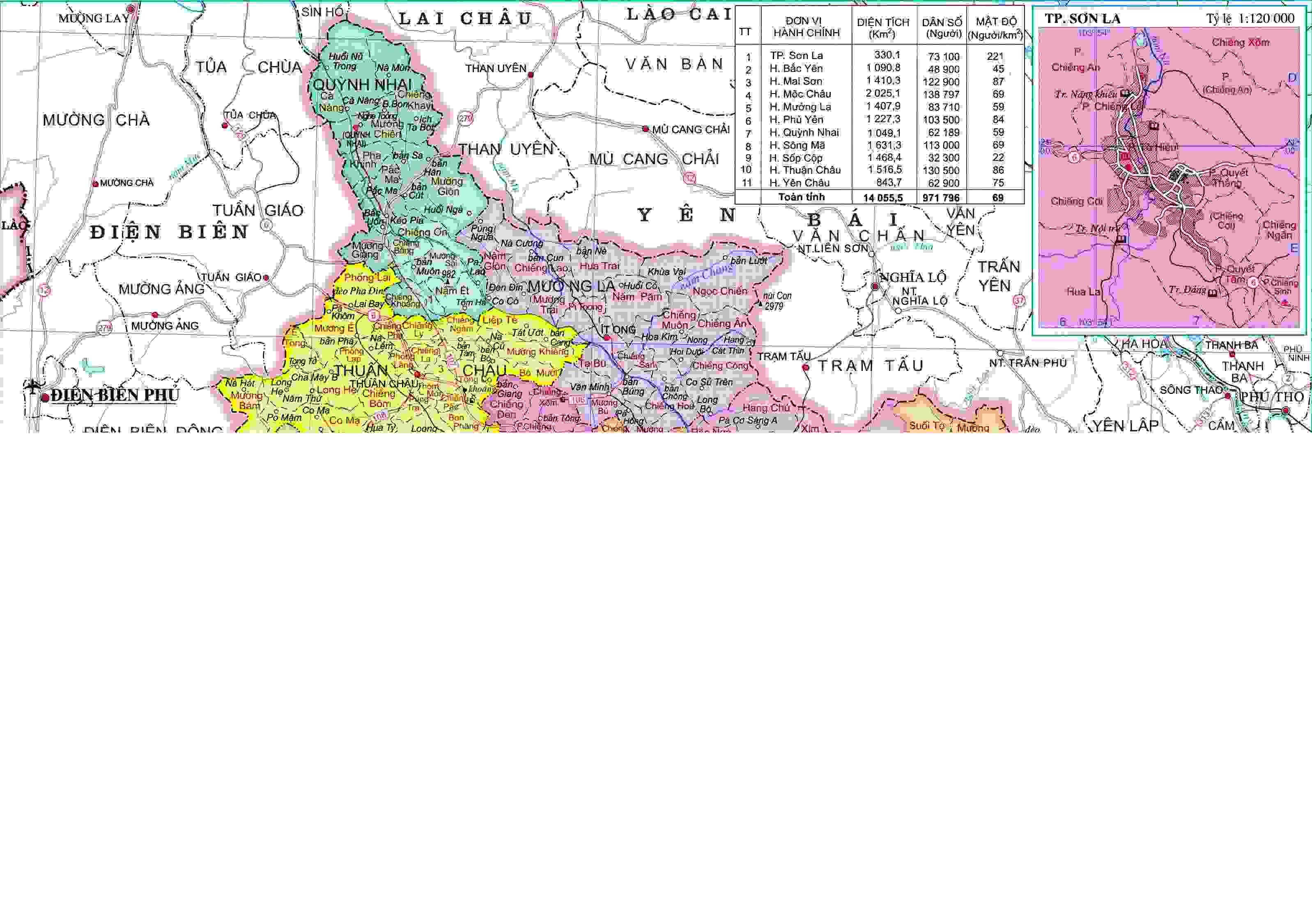 Bản đồ hành chính Sơn La khổ lớn