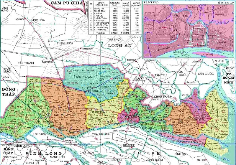Bản đồ hành chính Tiền Giang khổ lớn