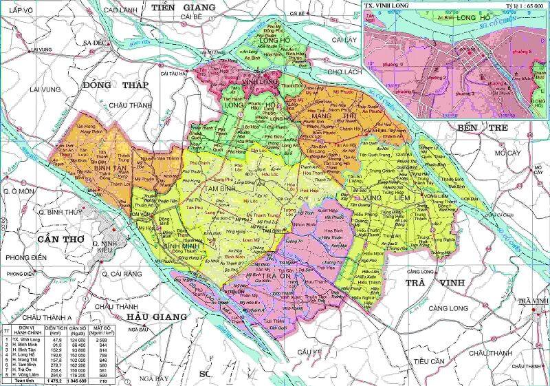 Bản đồ hành chính Vĩnh Long khổ lớn