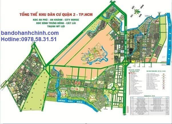 Bản đồ quy hoạch tổng thể khu dân cư quận 2