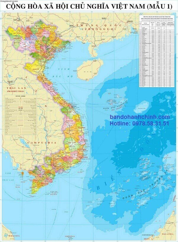 Bản đồ Việt Nam khổ lớn mẫu 1