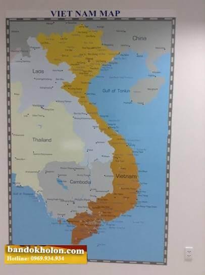 Map Design bán bản đồ Việt Nam tiếng Anh dán tường