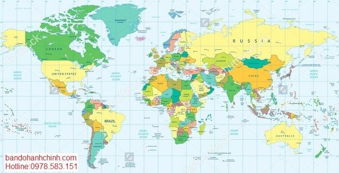 Bán bản đồ Thế Giới kích thước lớn