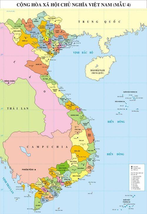 in bản đồ Việt Nam Tiếng Trung kích thước lớn ở đâu