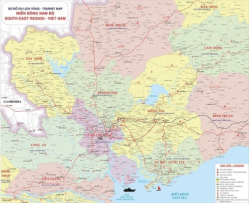 in bản đồ đông nam bộ tại tphcm