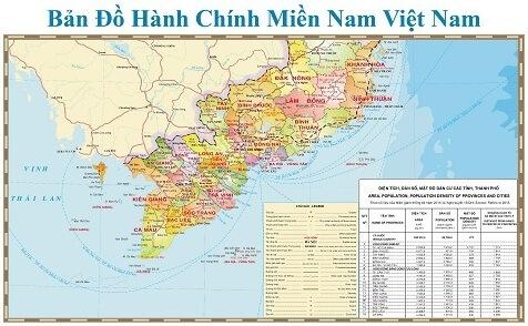 Bán bản đồ miền nam kích thước lớn