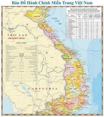 Bán bản đồ miền trung size lớn