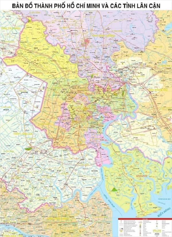 bản đồ tpHCM và các tỉnh lân cận