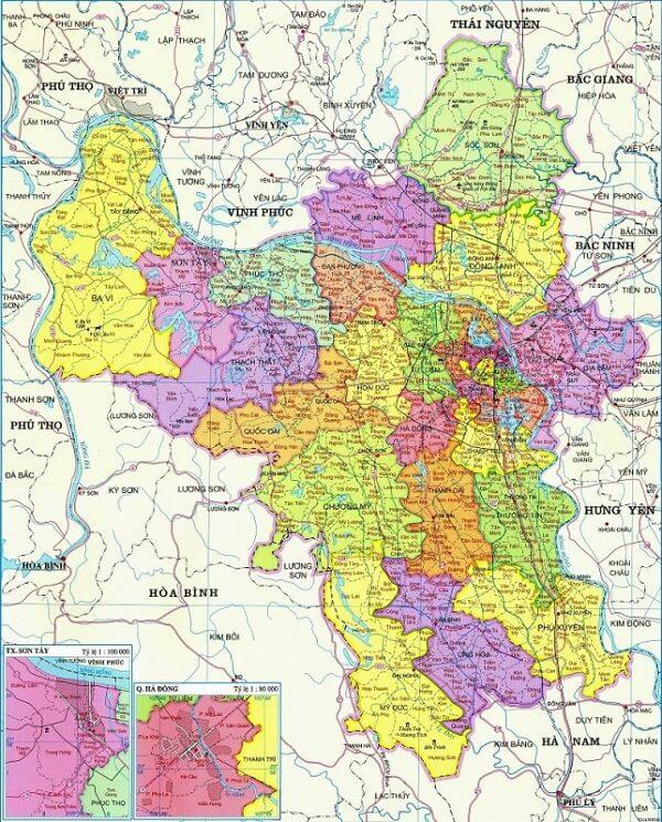 bản đồ hành chính Hà Nội