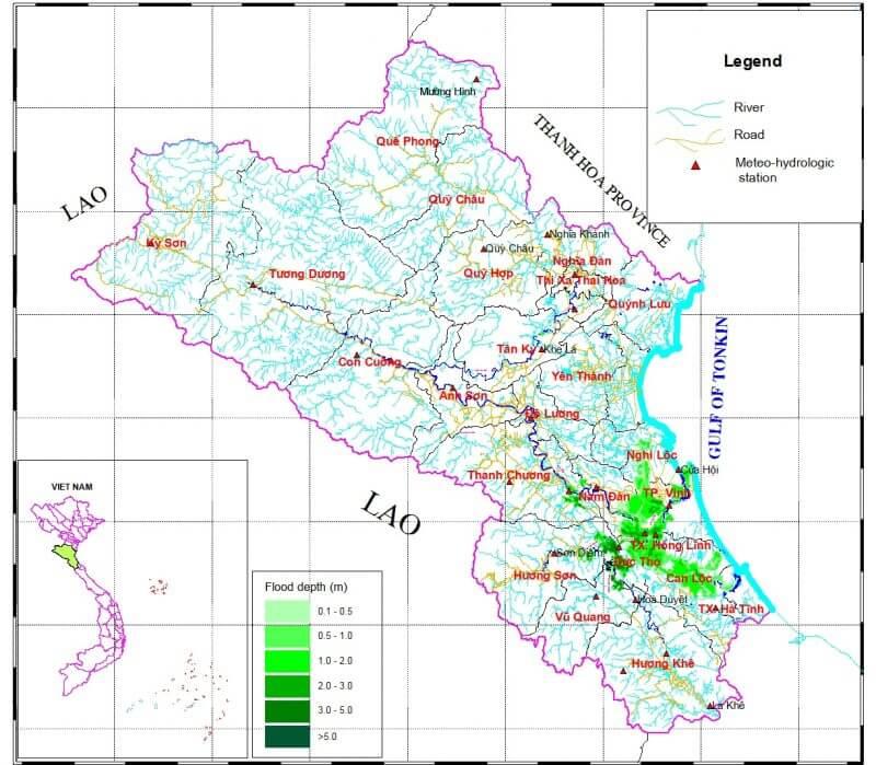 bản đồ ngập lũ tỉnh Nghệ An