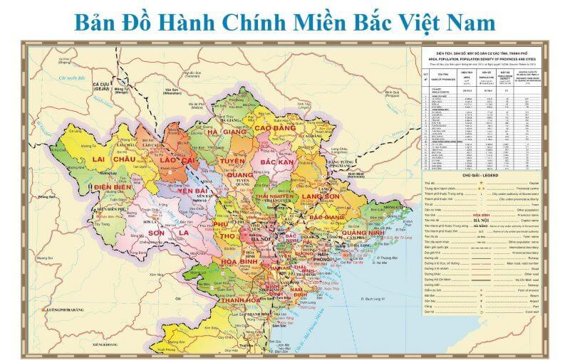 bản đồ hành chính miền Bắc