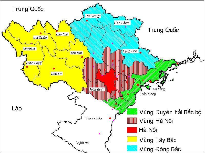 bản đồ miền Bắc