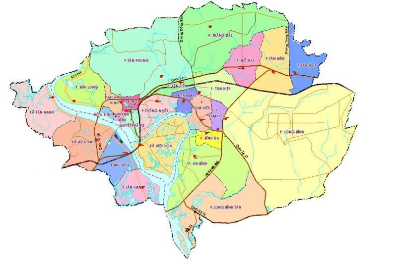 bản đồ thành phố Biên Hòa