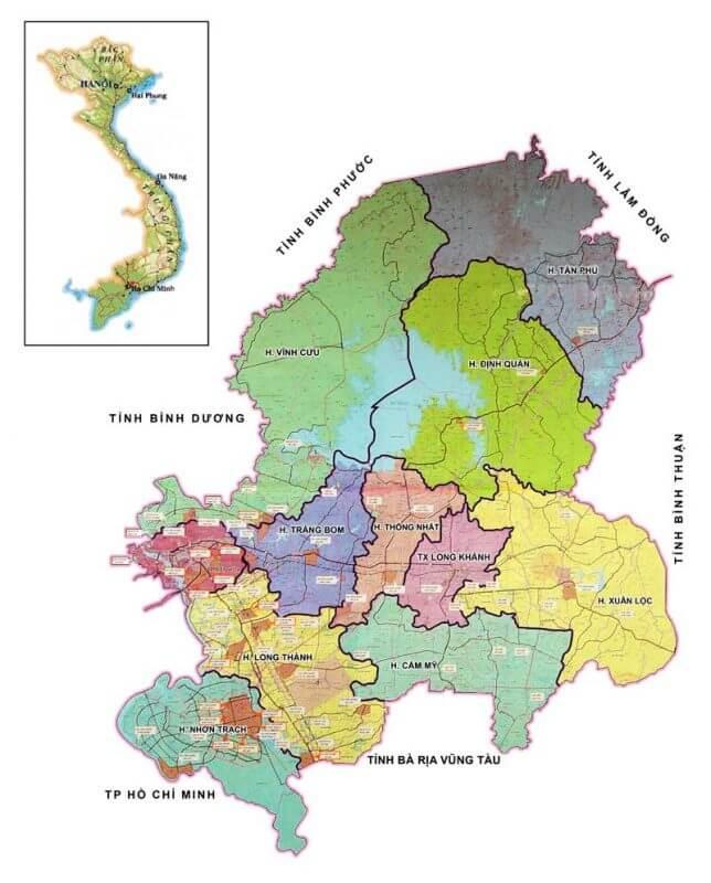 bản đồ tỉnh Đồng Nai
