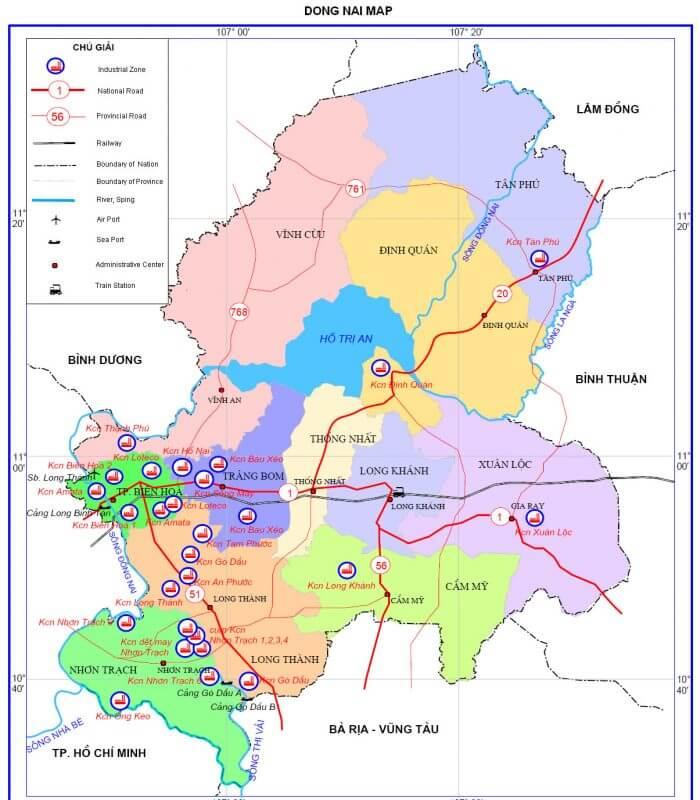 bản đồ giao thông tỉnh Đồng Nai