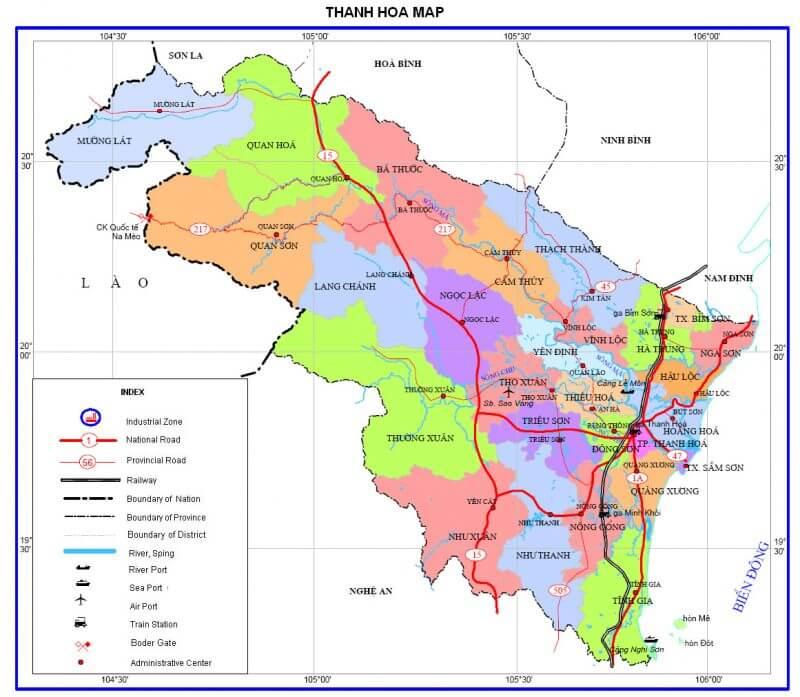 bản đồ giao thông tỉnh Thanh hóa