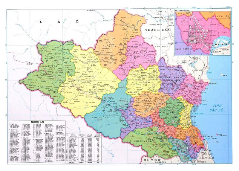 bản đồ tỉnh Nghệ An