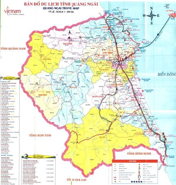 bản đồ du lịch tỉnh Quảng ngãi