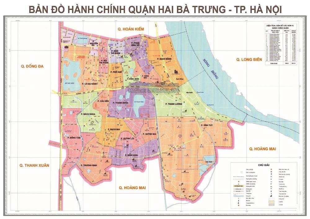 Bản Đồ Hành Chính Quận Hai Bà Trưng Thành Phố Hà Nội