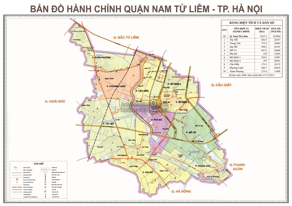 Bản Đồ Hành Chính Quận Nam Từ Liêm Thành Phố Hà Nội
